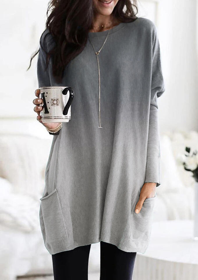 Mini Dresses Gradient Color Long Sleeve Pocket Mini Dress without Necklace in Gray. Size: S,M,L,XL фото