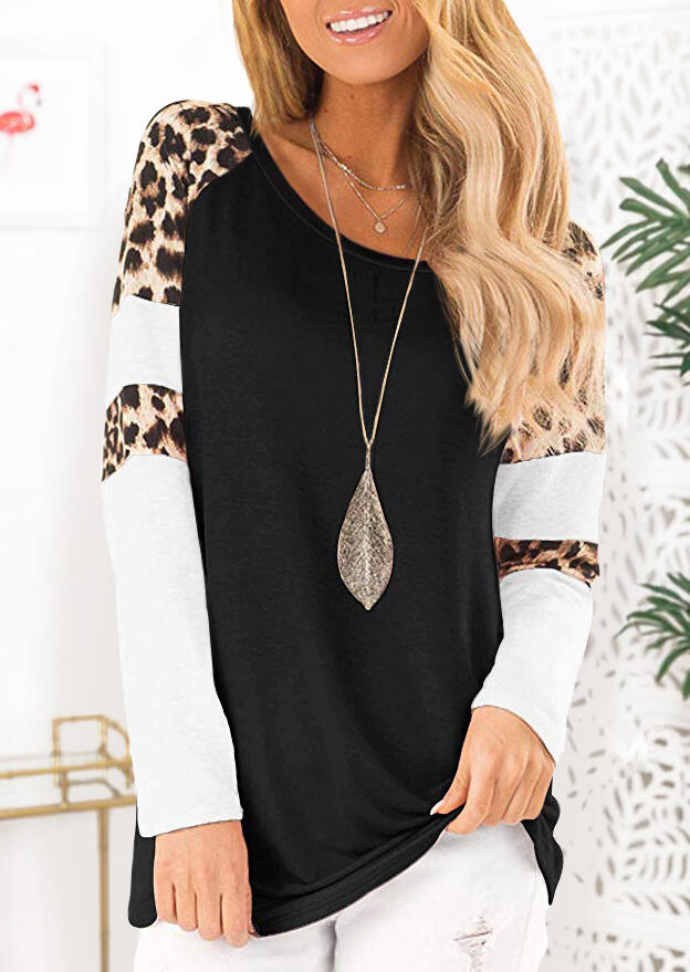 Leopard Splicing T-Shirt Tee without Necklace - Black фото