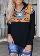 Aztec Geometric Kangaroo Pocket Zipper Collar Sweatshirt