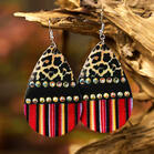 Leopard Colorful Striped Splicing Rhinestone Earrings