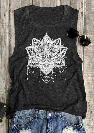 Mandala Lotus O-Neck Tank - Dark Grey