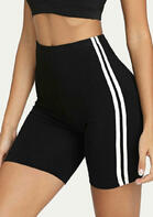 Striped Splicing Yoga Fitness Activewear Shorts