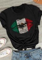 Mexican Flag Lips T-Shirt Tee