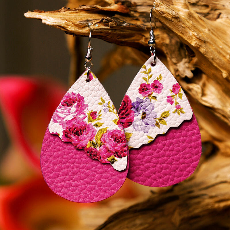 Floral Leopard Sunflower Dual-Layered Earrings фото