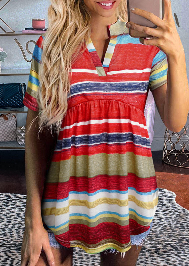 Colorful Serape Striped Ruffled V-Neck Blouse фото