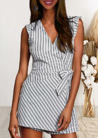 Asymmetric Striped Ruffled Tie Zipper Romper