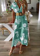 Floral Zipper Irregular V-Neck Maxi Dress