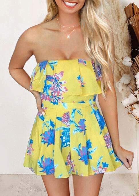Floral Layered Ruffled Romper without Necklace - Yellow фото