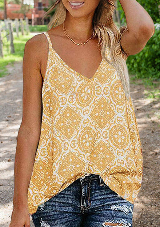 Tank Tops Geometric Printed Camisole without Necklace in Yellow. Size: S,M,L,XL фото