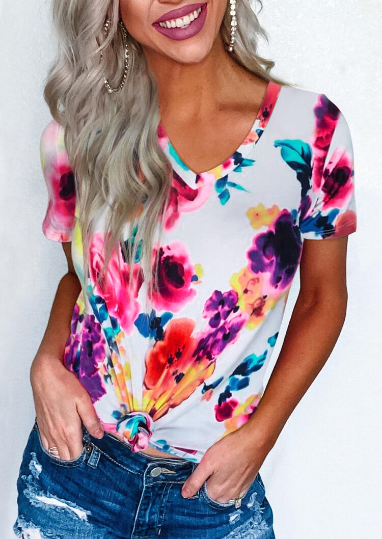 Floral Tie Dye V-Neck T-Shirt Tee фото