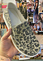 Leopard Round Toe Slip On Flat Sneakers