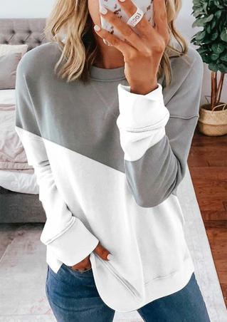 Color Block Long Sleeve Sweatshirt - Gray
