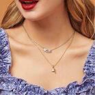 2Pcs Love Heart Rhinestone Key And Lock Pendant Necklace