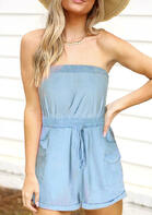 Ruffled Drawstring Pocket Romper
