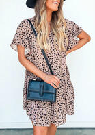 Leopard Button Ruffled Mini Dress without Bag