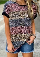 Leopard Striped Color Block T-Shirt