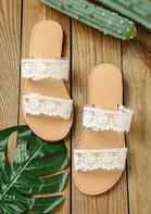 Lace Splicing Round Toe Flat Slippers
