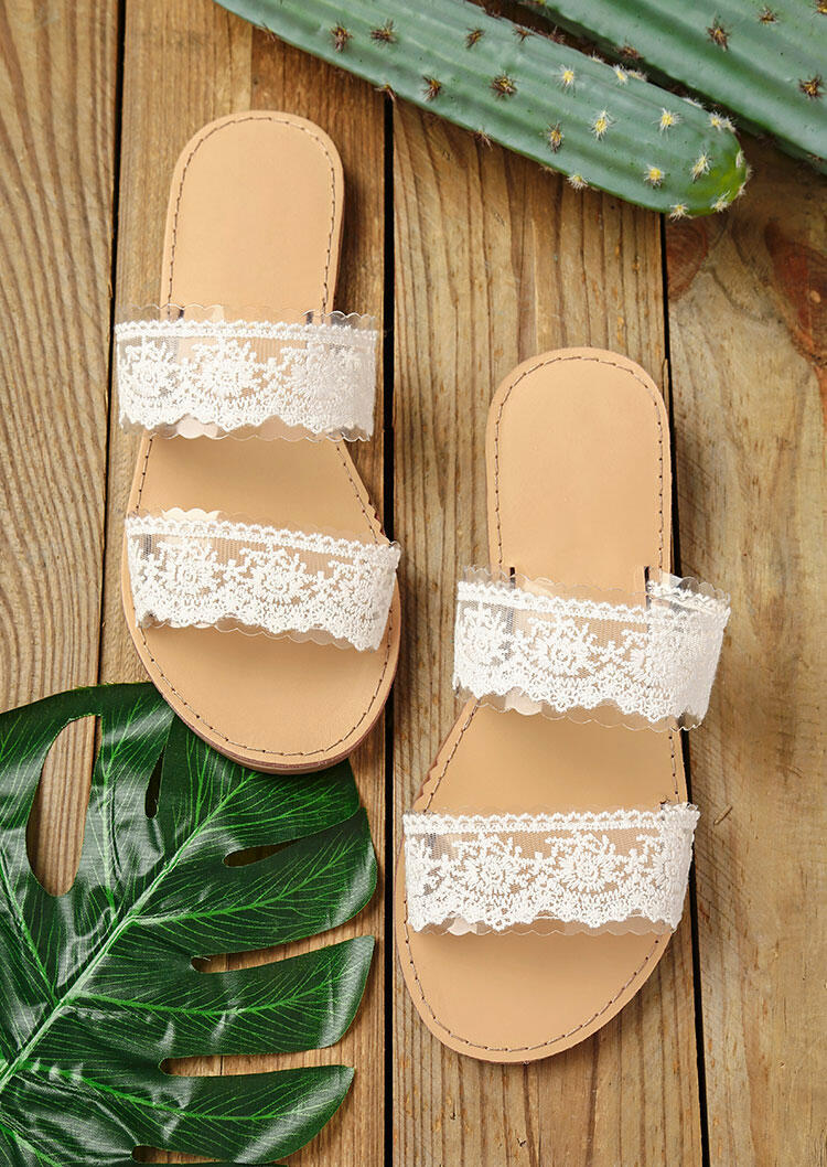 Slippers Lace Splicing Round Toe Flat Slippers in White. Size: 36,37 фото