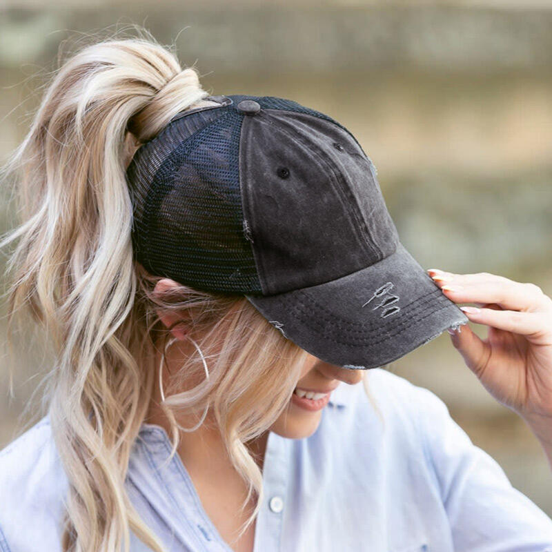 Hats Mesh Hollow Out Ripped Washed Baseball Cap in Black,Gray,Army Green. Size: One Size фото