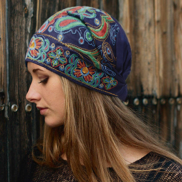 Hats Vintage Embroidered Floral Hollow Out Hat in Black,Red,Deep Blue. Size: One Size фото