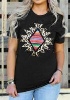 Leopard Geometric Aztec Striped T-Shirt