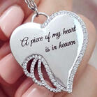 A Piece Of My Heart Is In Heaven Rhinestone Angel Wing Pendant Necklace