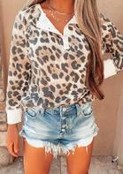 Leopard Button O-Neck Sweatshirt