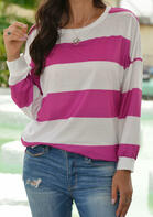 Striped Slit Long Sleeve T-Shirt Tee