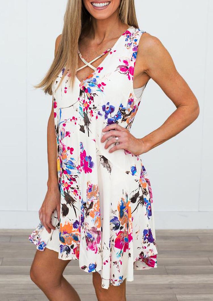 Mini Dresses Floral Criss-Cross V-Neck Mini Dress in White. Size: S,M,L,XL фото