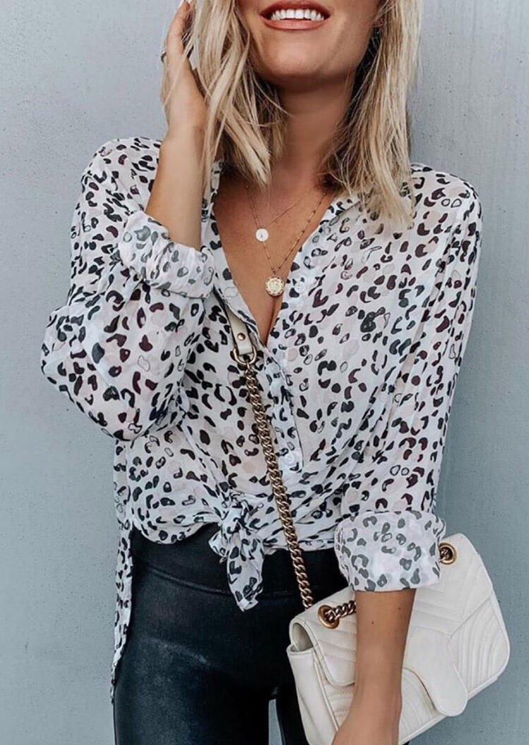 Leopard Button Slit Long Sleeve Shirt without Necklace фото