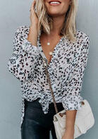 Leopard Button Slit Long Sleeve Shirt