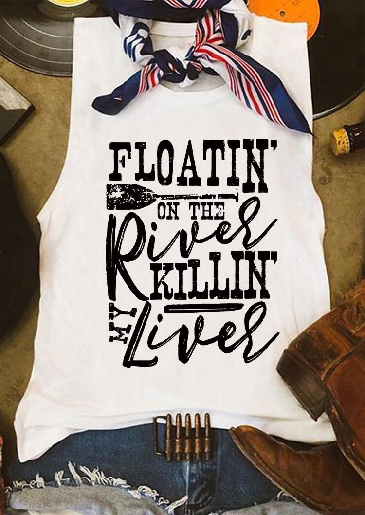 Tank Tops Floatin'On The River in' My Liver Tank in White. Size: S,M,L фото