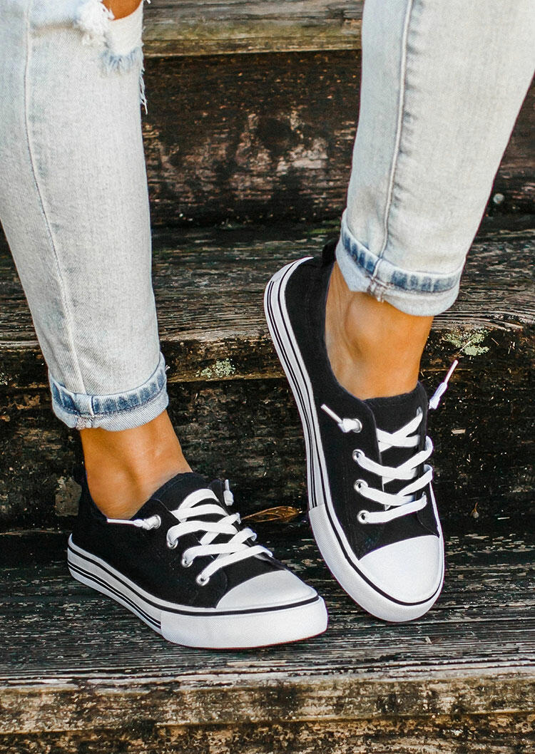 Lace Up Round Toe Flat Canvas Sneakers - Black