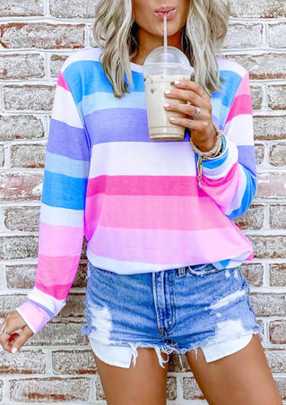 Striped Color Block Long Sleeve T-Shirt Tee