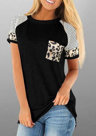 Leopard Striped Splicing Pocket Blouse - Black