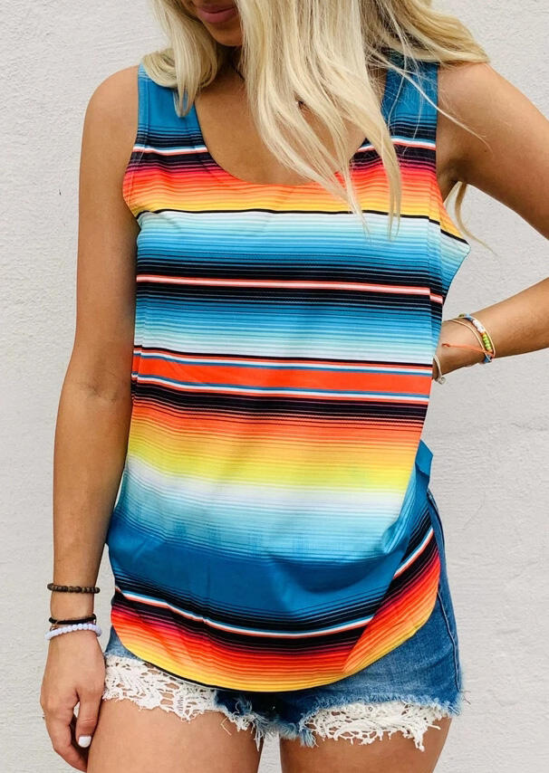 Tank Tops Colorful Serape Striped Tank without Necklace in Multicolor. Size: S,M,L фото