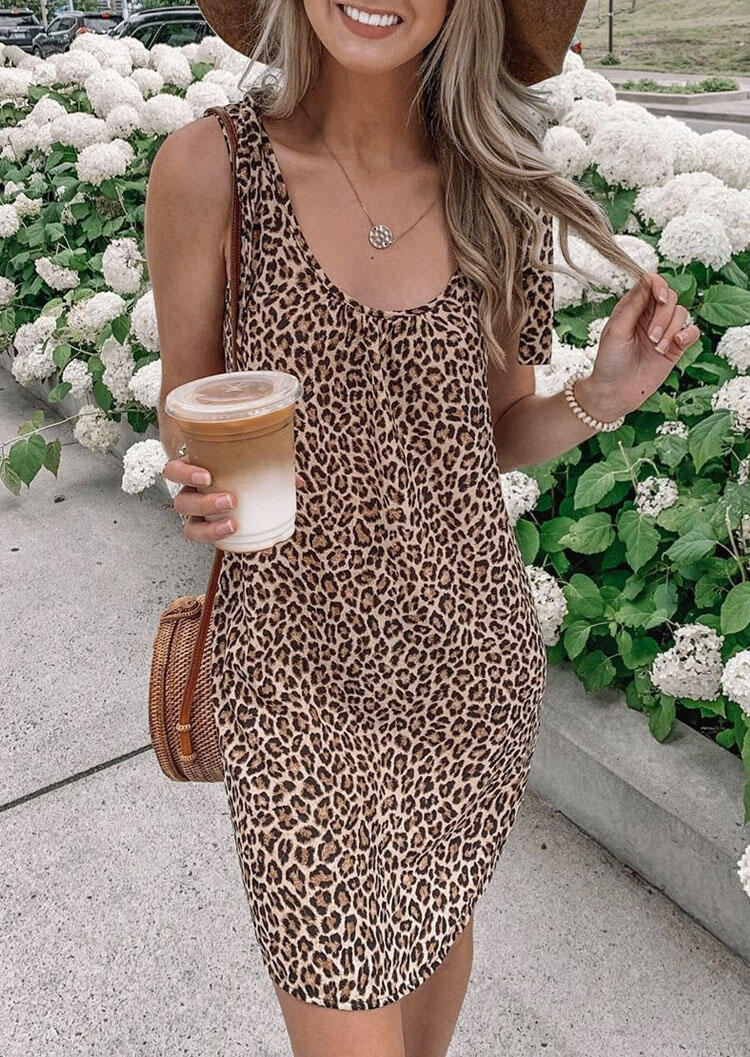 Mini Dresses Leopard Mini Dress without Necklace in Leopard. Size: S,M,L,XL фото