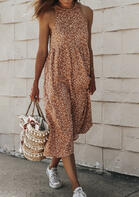 Leopard Ruffled Button Open Back Halter Maxi Dress