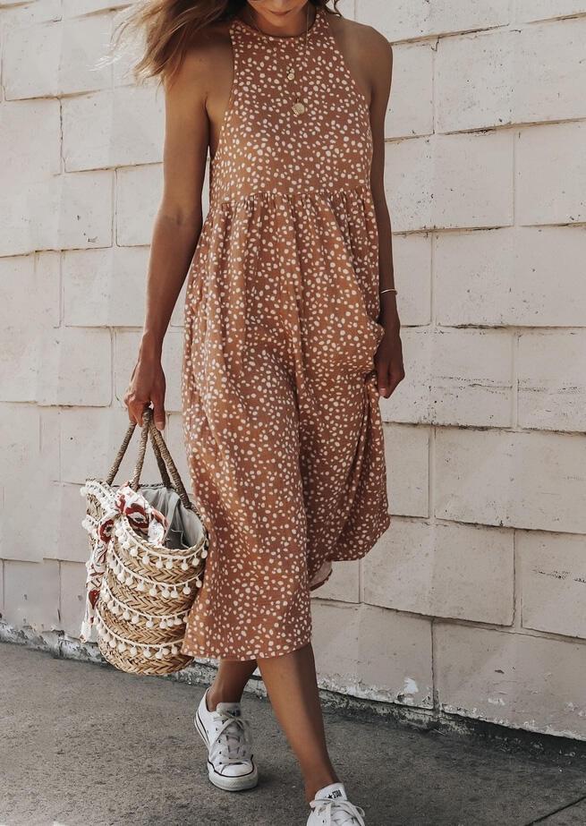 Maxi Dresses Leopard Ruffled Button Open Back Halter Maxi Dress in Light Brown. Size: S,M,L,XL фото