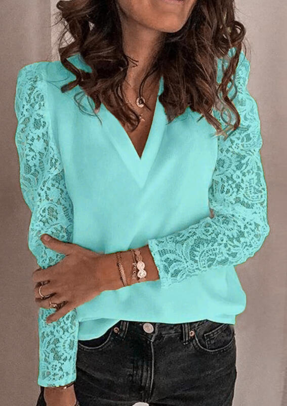Lace Splicing V-Neck Blouse - Lake Blue