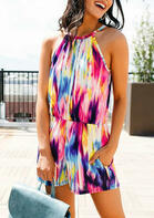Rainbow Tie Dye Pocket Hollow Out Romper