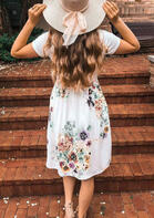 Floral Pocket Casual Dress