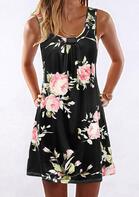Rose Floral Ruffled Mini Dress