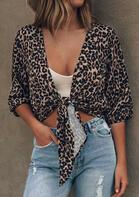 Leopard Tie Elastic Cuff Cardigan