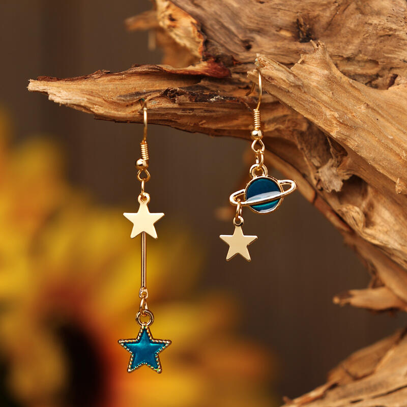 Star Earth Planet Asymmetric Pendant Earrings