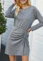 Ruffled Long Sleeve Mini Dress