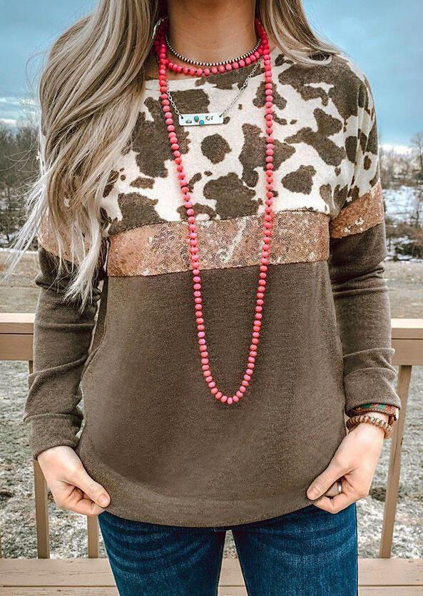 Cow Sequined Splicing Sweatshirt - Coffee
