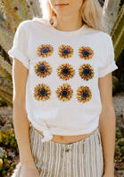 Sunflower Floral O-Neck T-Shirt