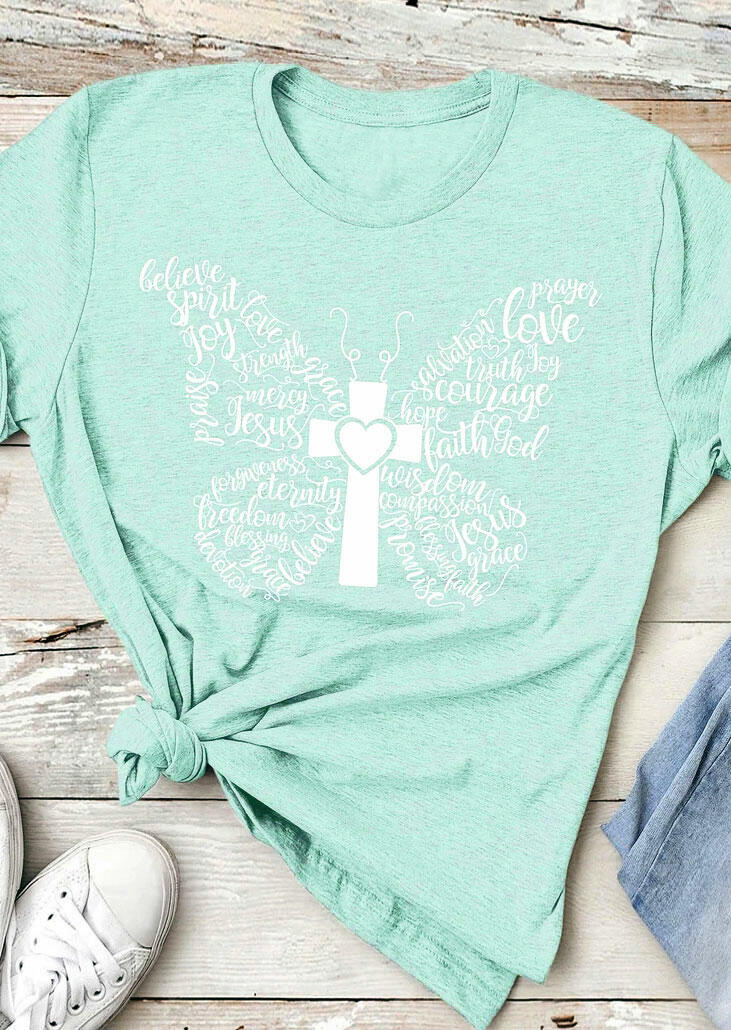 Butterfly Cross Heart T-Shirt Tee - Light Green