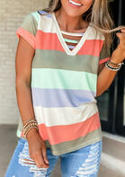 Color Block Striped Splicing Hollow Out Blouse